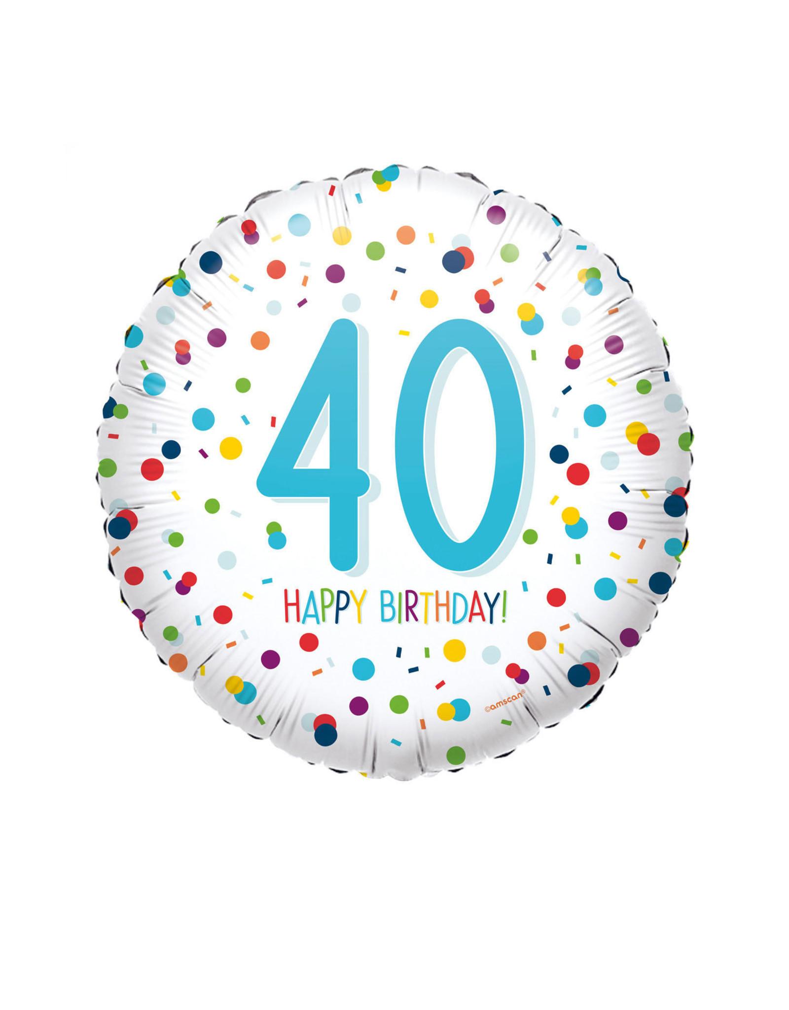 Amscan folieballon confetti hb 40 jaar 43 cm