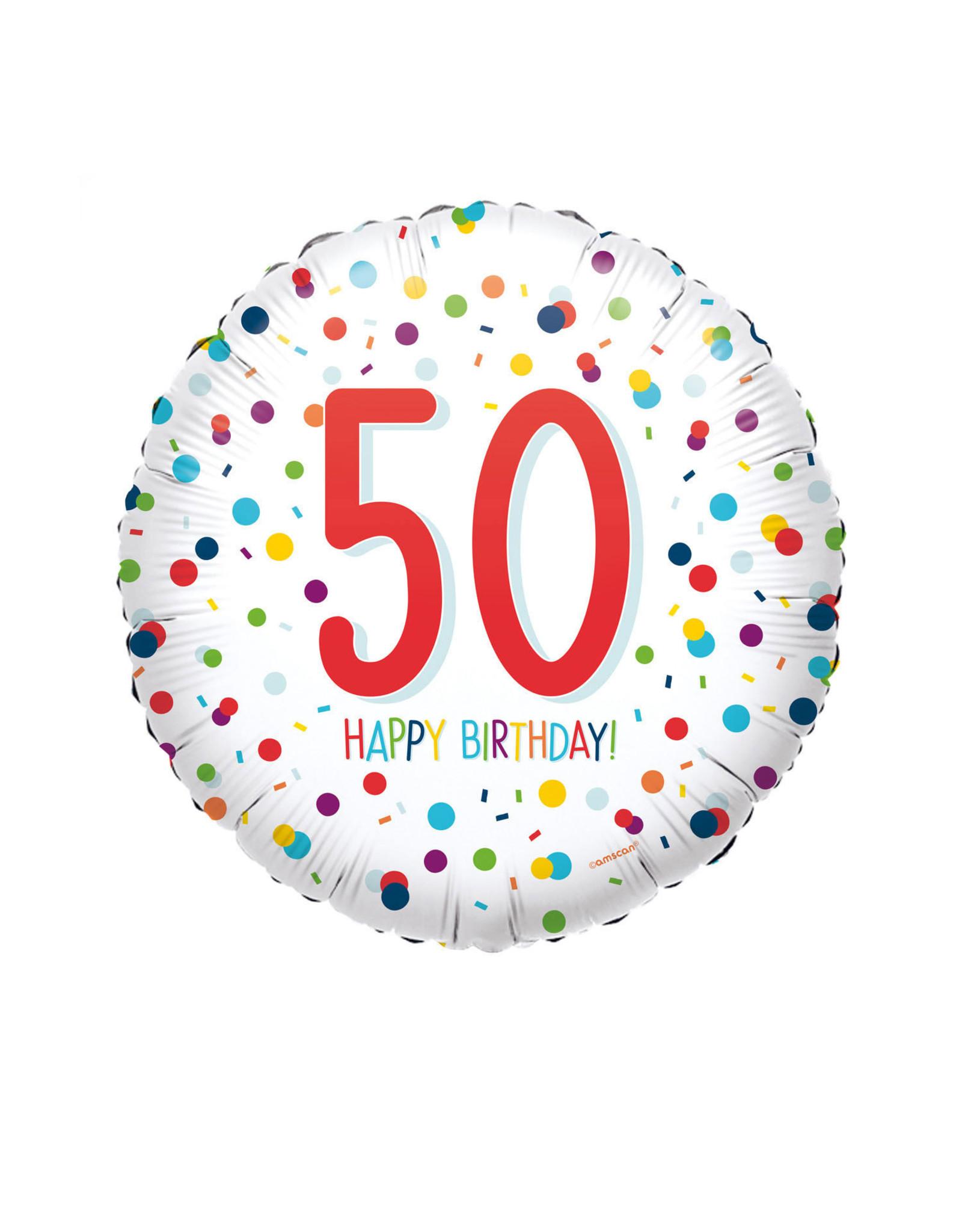 Amscan folieballon confetti hb 50 jaar 43 cm