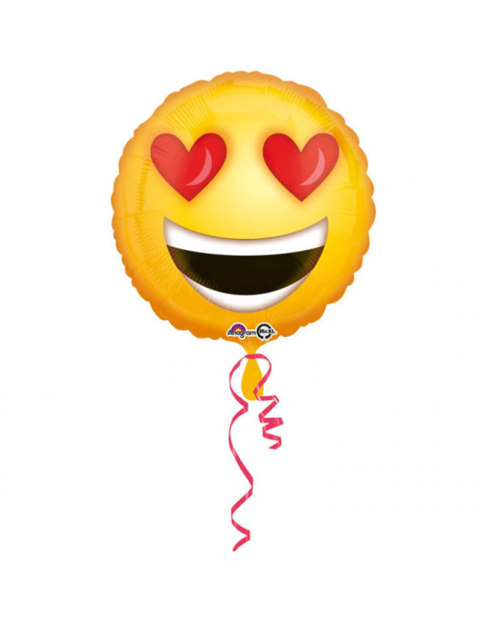 Amscan folieballon emoticon heart eyes 43 cm