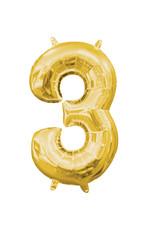 Amscan folieballon goud cijfer 3 40 cm