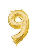 Amscan folieballon goud cijfer 9 40 cm