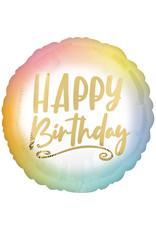 Amscan folieballon happy birthday ombre en goud 43 cm