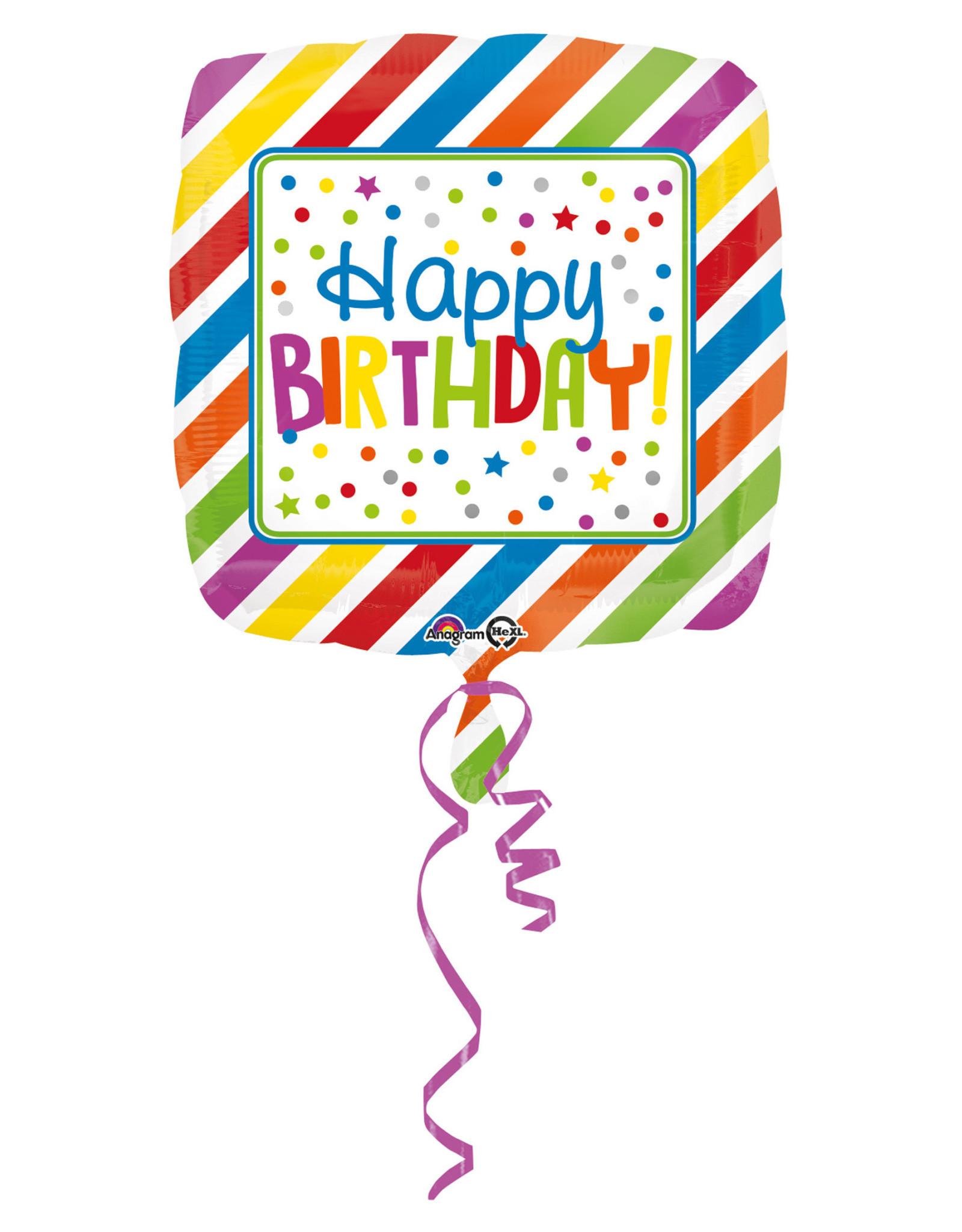 Amscan folieballon happy birthday stripes & dots 43 cm