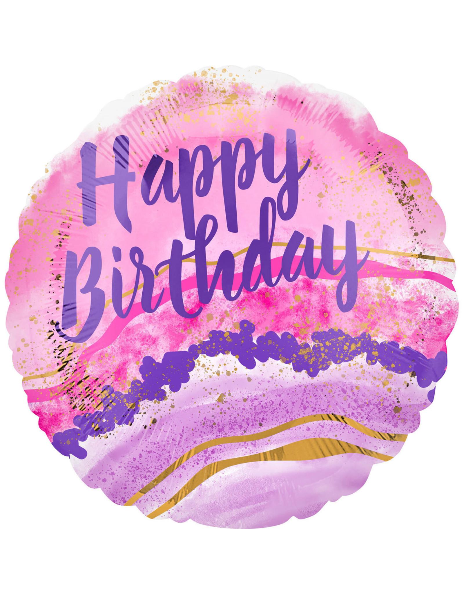 Amscan folieballon happy birthday watercolor marble 43 cm