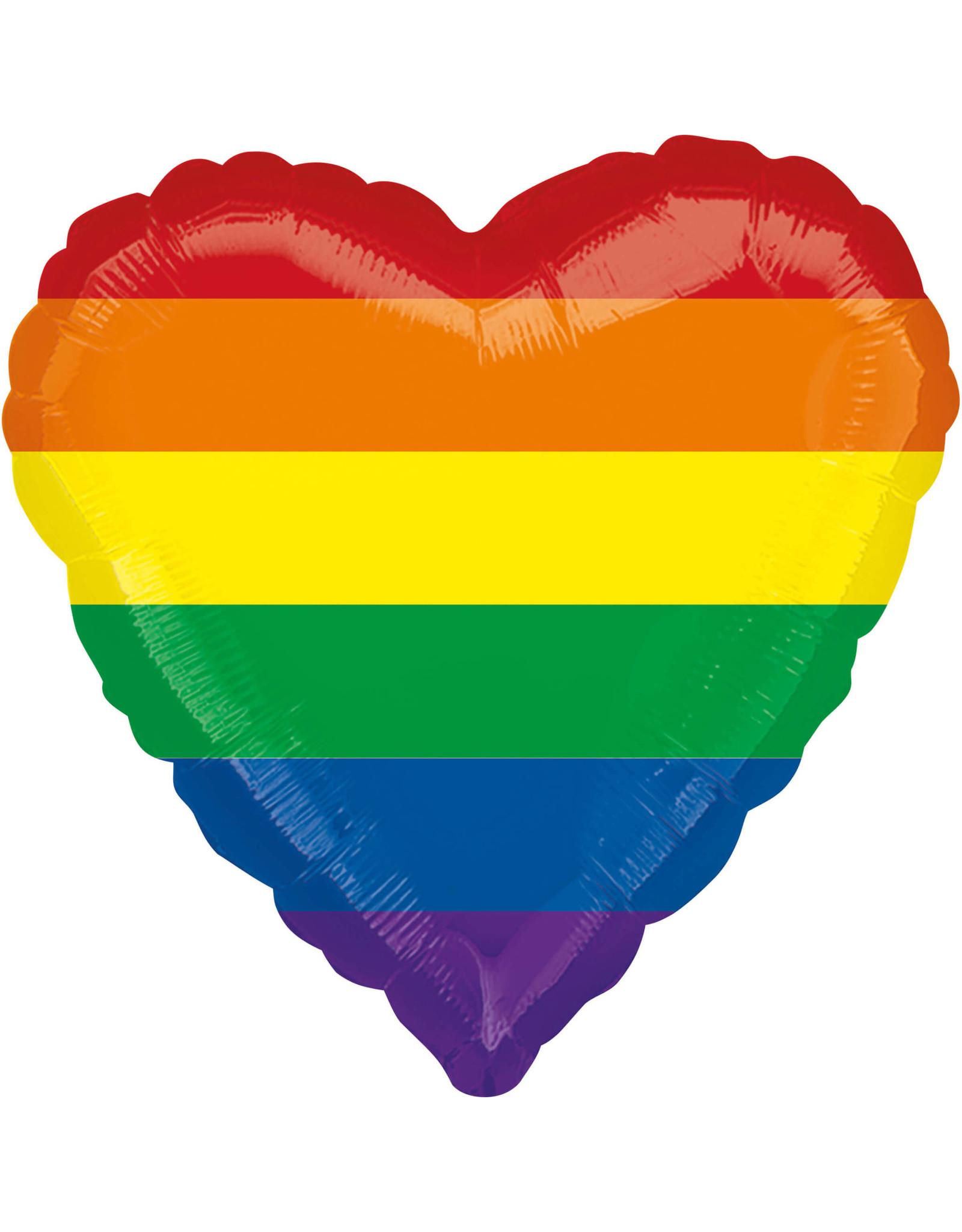 Amscan folieballon hart regenboog 43 cm