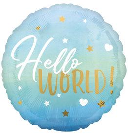 Amscan folieballon hello world blauw 43 cm