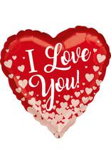 Amscan folieballon I love you + rose golden hearts 43 cm