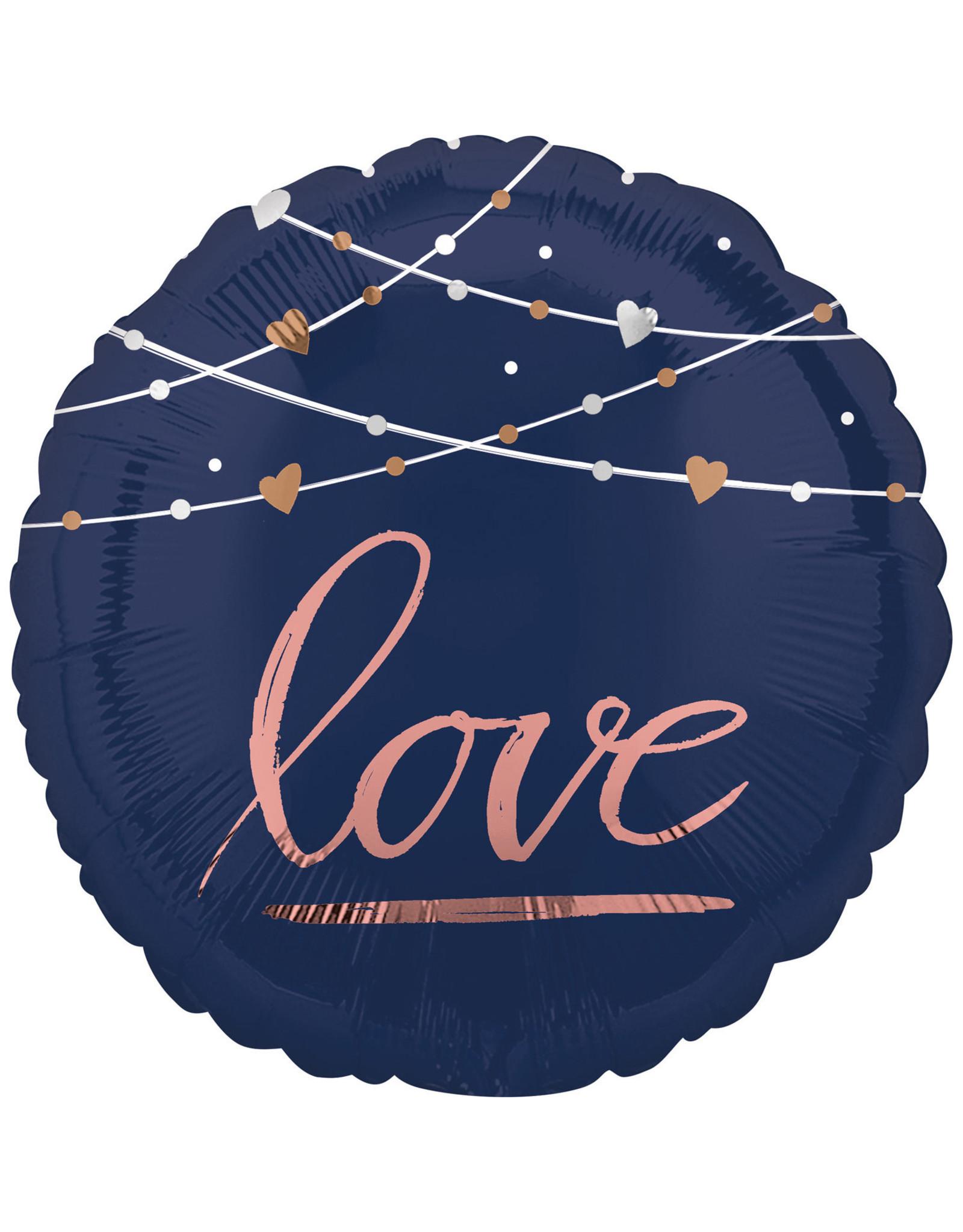 Amscan folieballon love navy blue/rose goud 43 cm