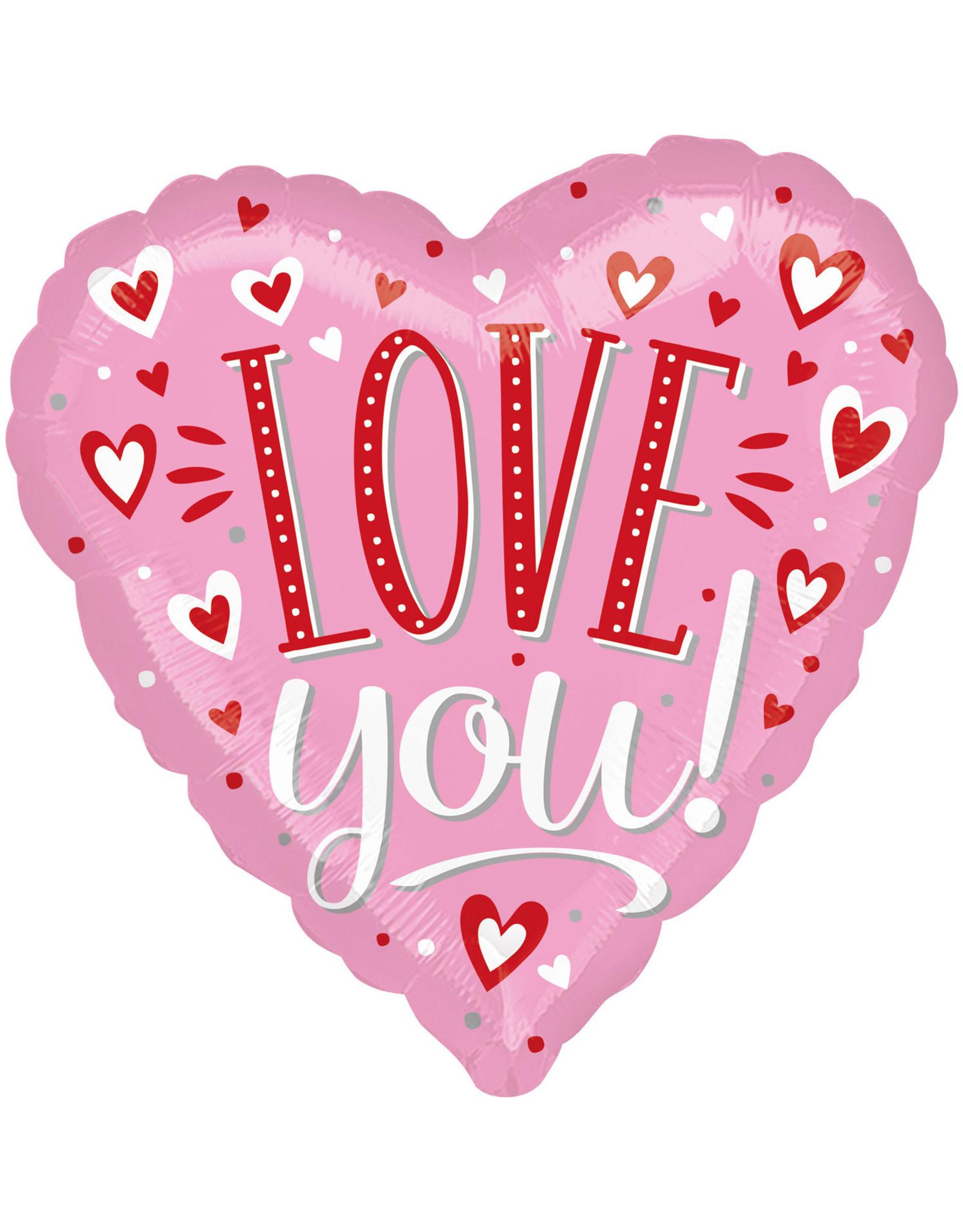 Amscan folieballon love you! Roze met hartjes 43 cm