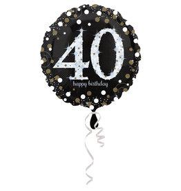 Amscan sparkling folieballon 40 jaar zilver 45 cm