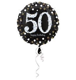 Amscan sparkling folieballon 50 jaar zilver 45 cm