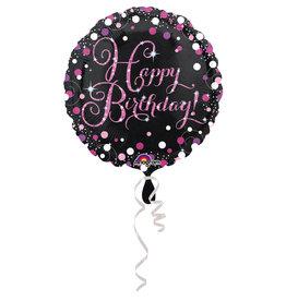 Amscan sparkling folieballon happy birthday roze 45 cm