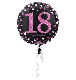 Amscan sparkling folieballon 18 jaar roze 45 cm