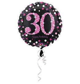 Amscan sparkling folieballon 30 jaar roze 45 cm
