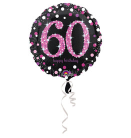 Amscan sparkling folieballon 60 jaar roze 45 cm