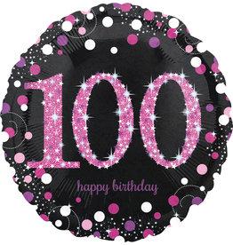 Amscan sparkling folieballon 100 jaar roze 45cm