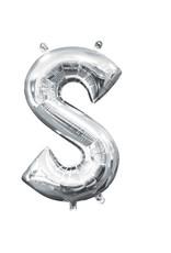 Amscan folieballon zilver letter S 40 cm