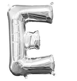 Amscan folieballon zilver letter E 40 cm
