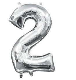 Amscan folieballon zilver cijfer 2 40 cm