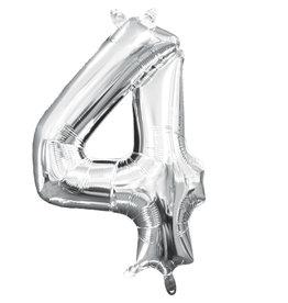 Amscan folieballon zilver cijfer 4 40 cm