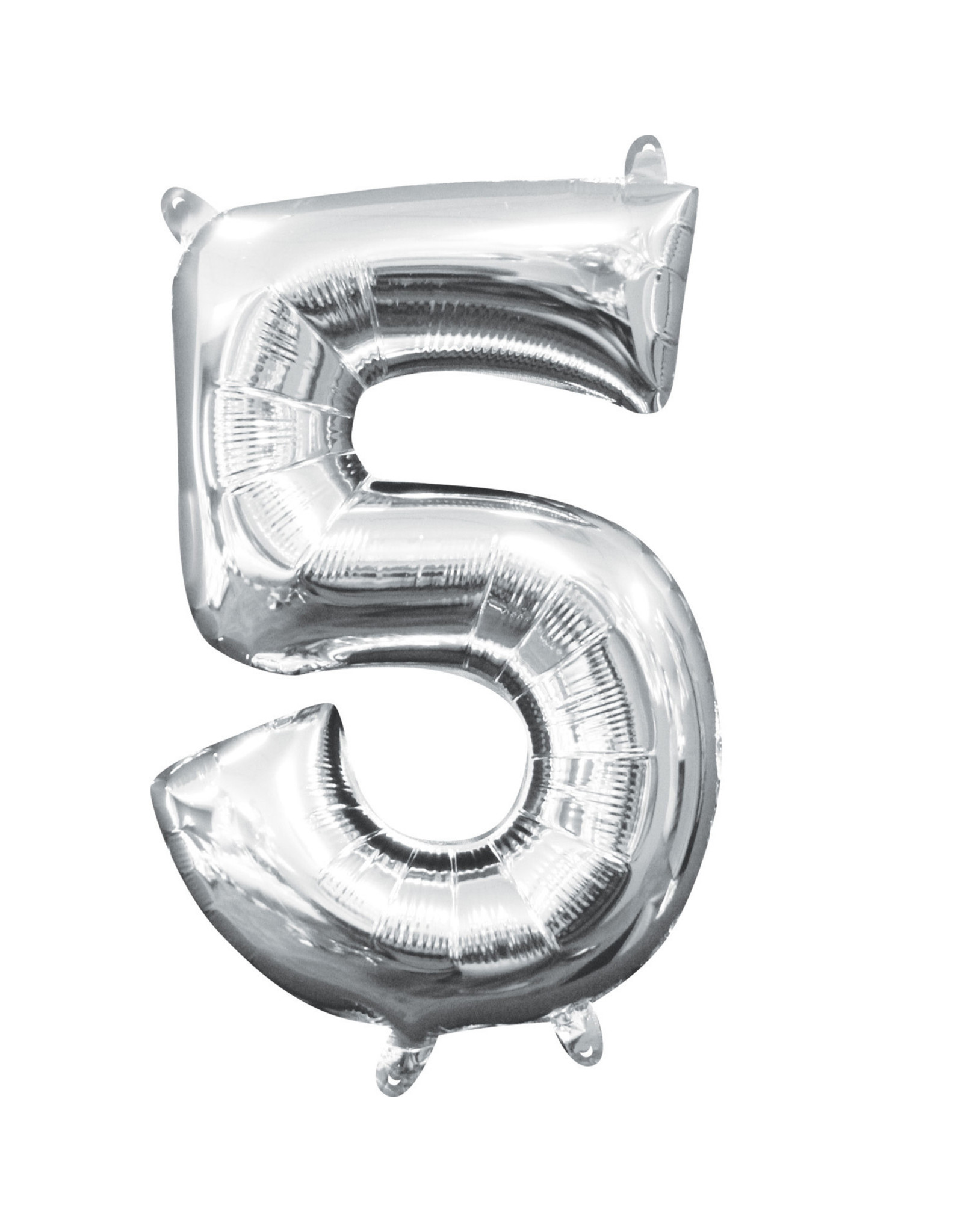 Amscan folieballon zilver cijfer 5 40 cm