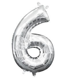 Amscan folieballon zilver cijfer 6 40 cm
