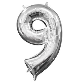 Amscan folieballon zilver cijfer 9 40 cm