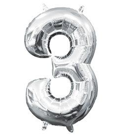 Amscan folieballon zilver cijfer 3 40 cm