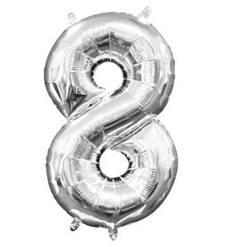 Amscan folieballon zilver cijfer 8 40 cm