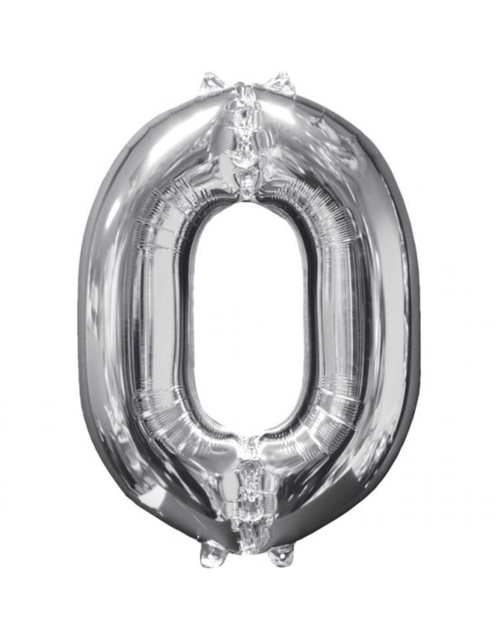 Amscan folieballon zilver cijfer 0 66 cm