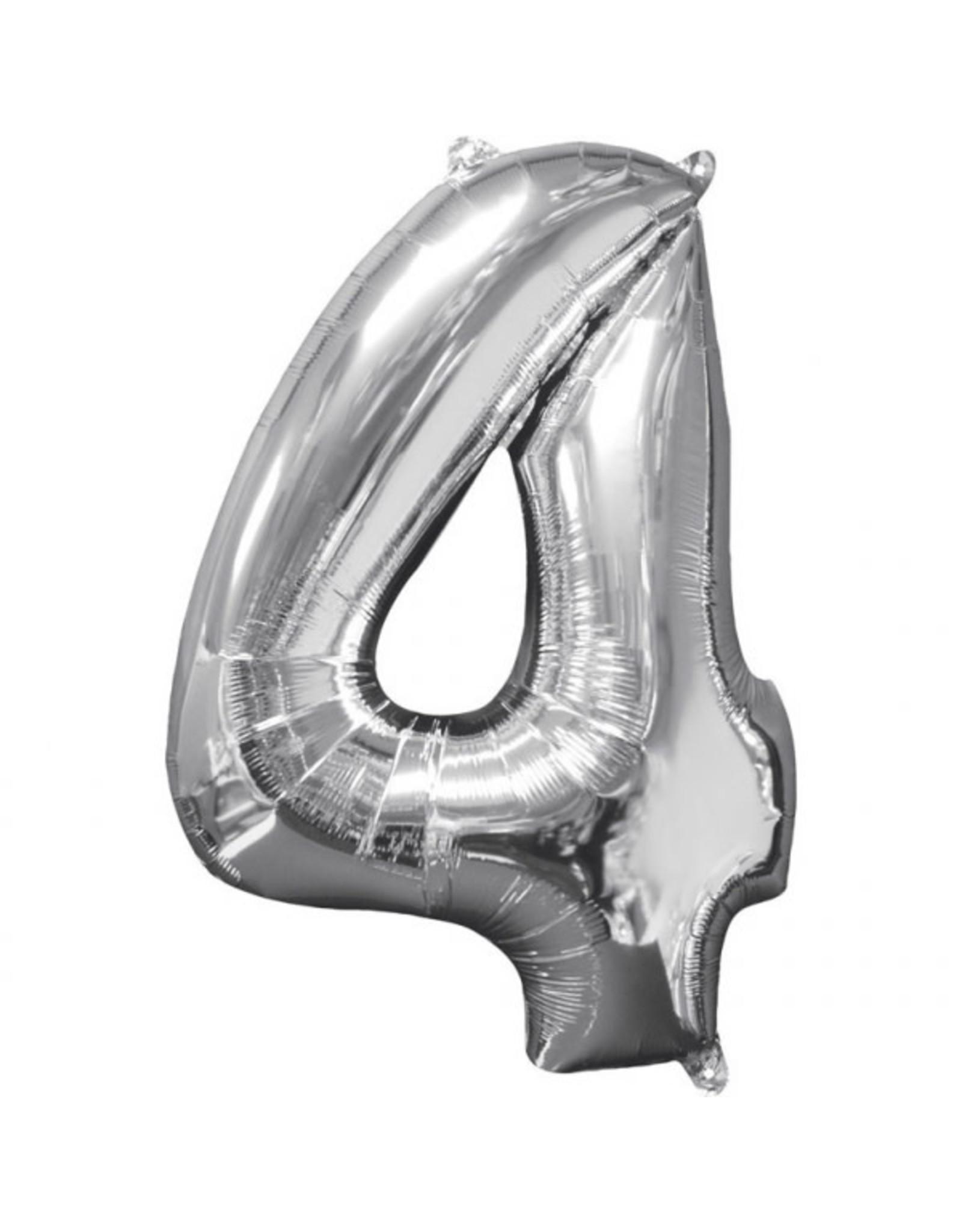 Amscan folieballon zilver cijfer 4 66 cm