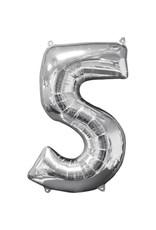Amscan folieballon zilver cijfer 5 66 cm
