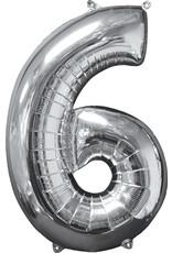 Amscan folieballon zilver cijfer 6 66 cm