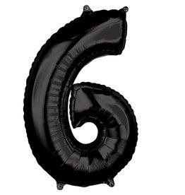 Amscan folieballon zwart cijfer 6 66 cm