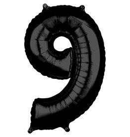 Amscan folieballon zwart cijfer 9 66 cm