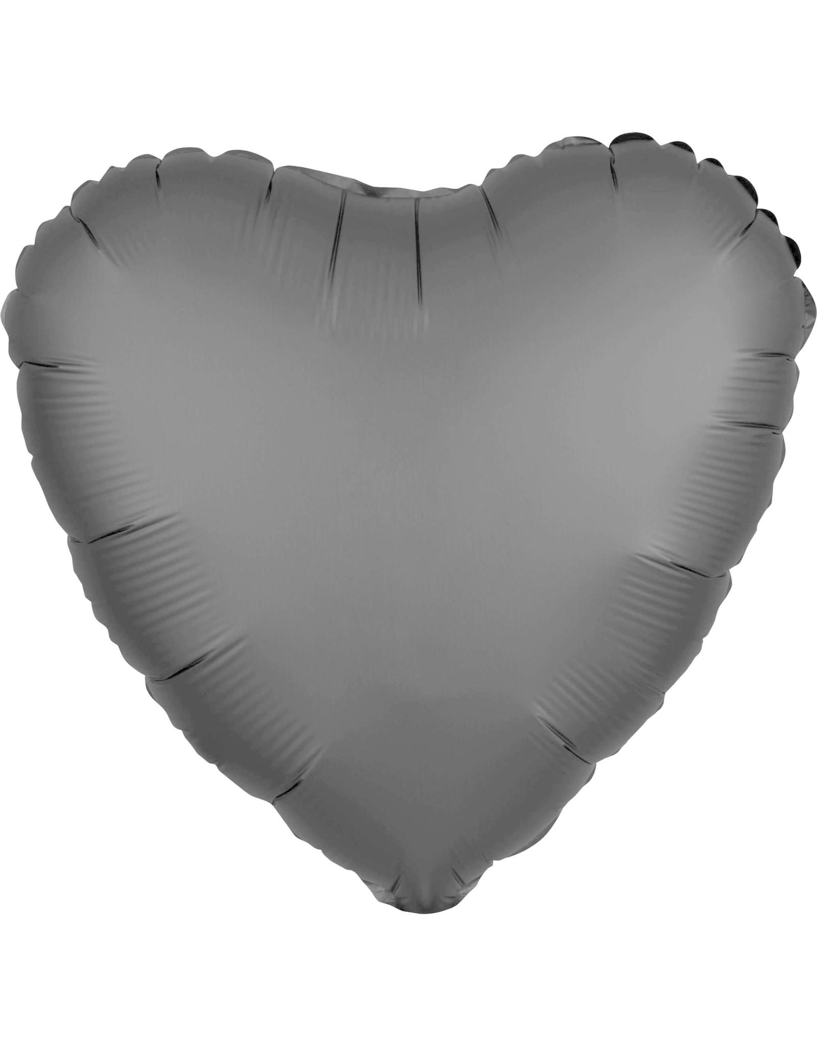Amscan folieballon zwart hart 43 cm