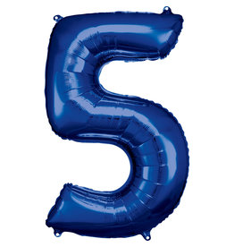 Amscan folieballon blauw cijfer 5 86 cm