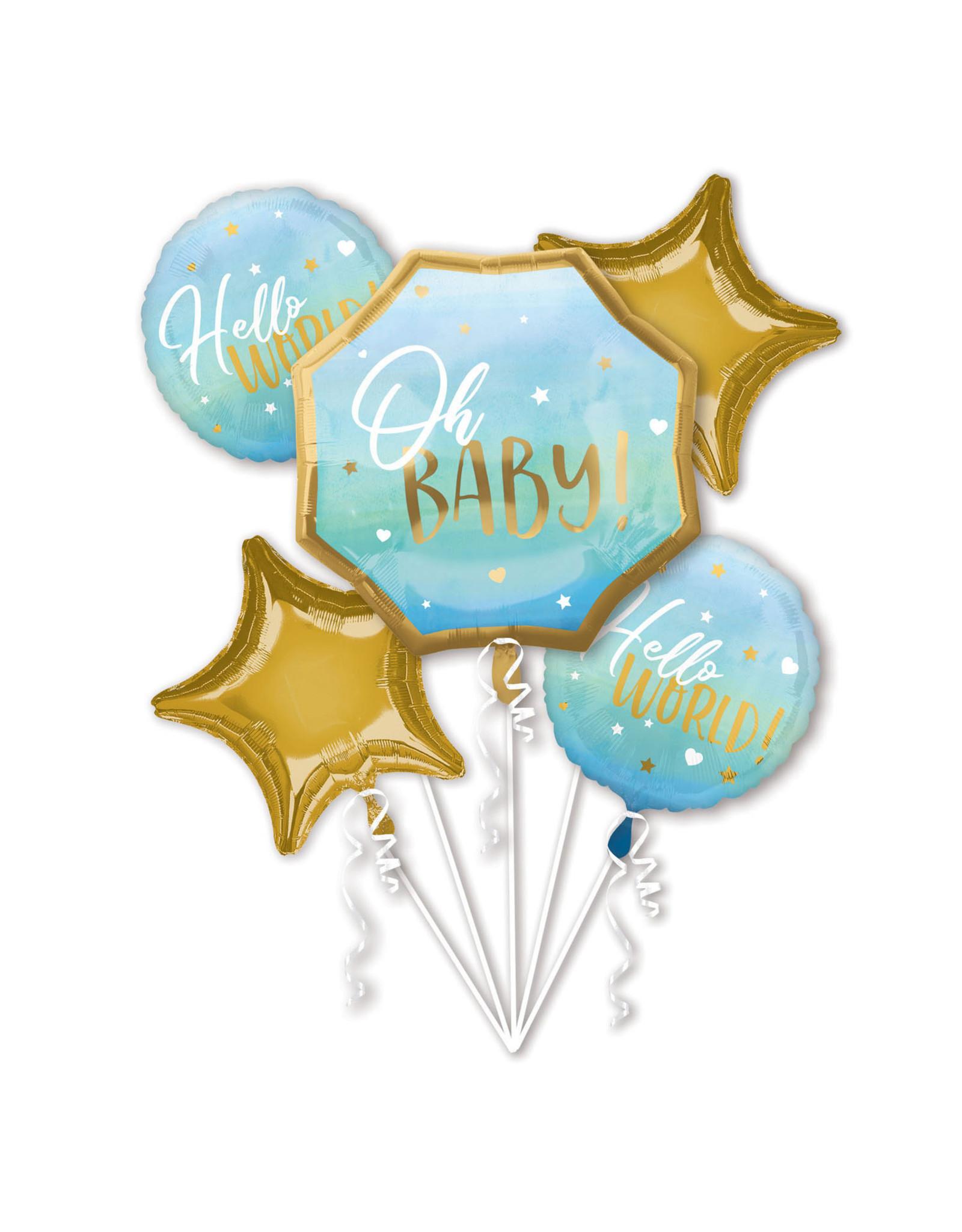Amscan folieballonpakket OH BABY! Blauw/goud 5-delig