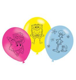 Amscan latex ballonnen Spongebob 6 stuks