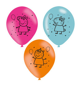 Amscan latex ballonnen Peppa pig 6 stuks