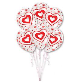Amscan latex ballonnen rood/wit met hartjes 6 stuks