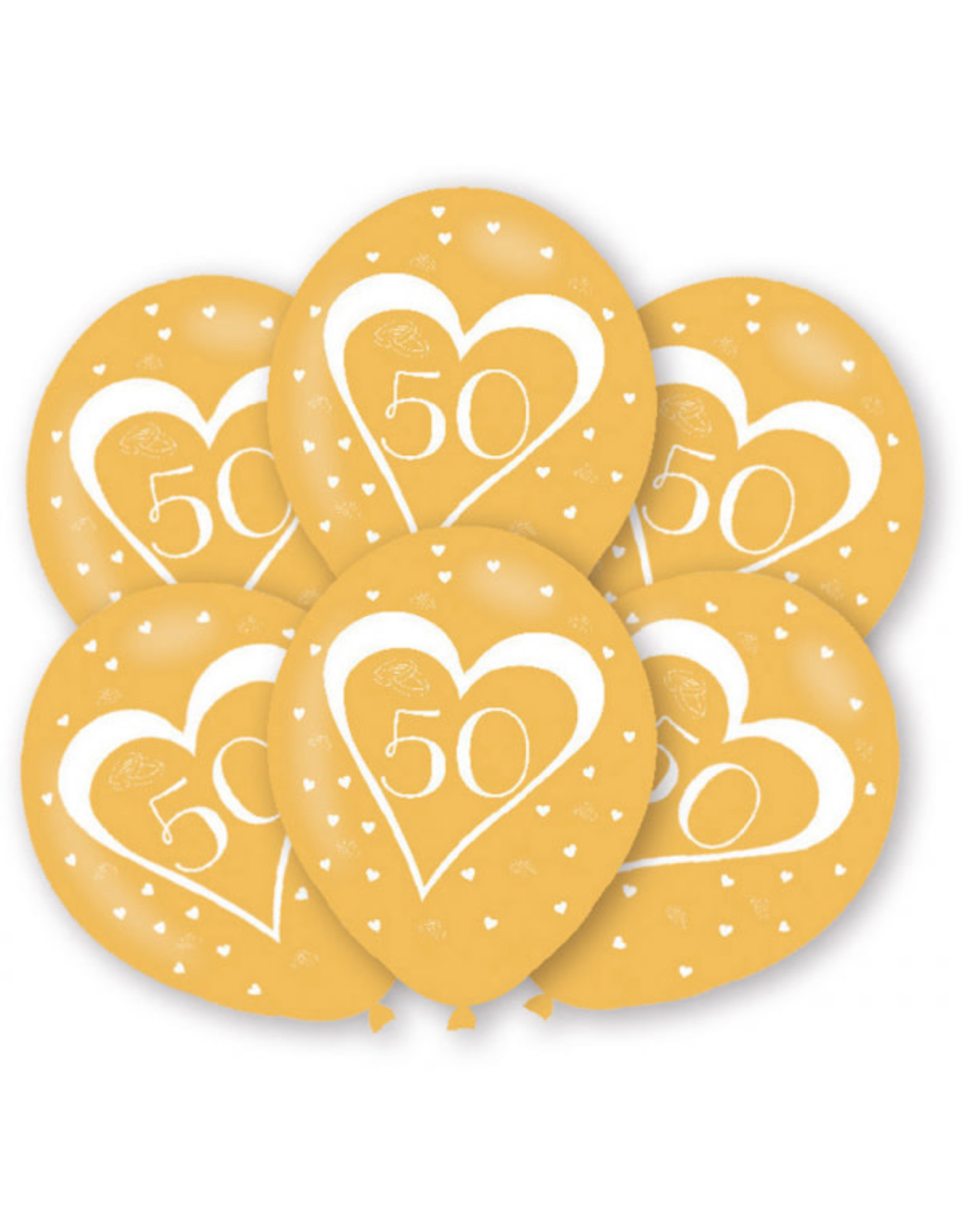 Amscan latex ballonnen 50 jaar goud 6 stuks