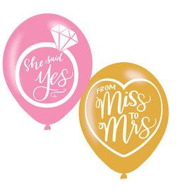 Amscan latex ballonnen from miss to mrs 6 stuks