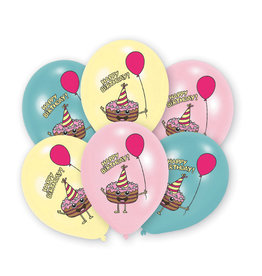 Amscan latex ballonnen happy birthday cake 6 stuks
