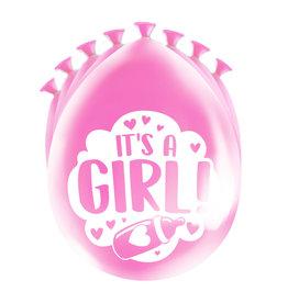 8 party ballonnen geboorte meisje