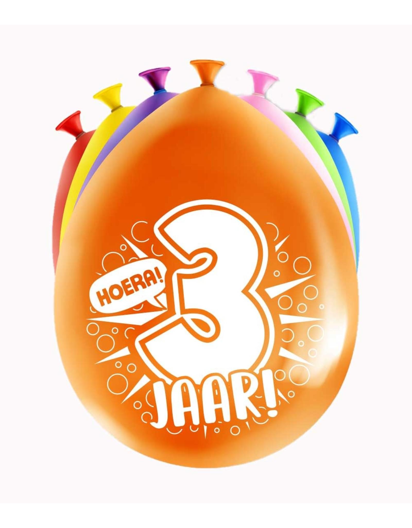 8 party ballonnen 3 jaar