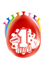 8 party ballonnen 1 jaar