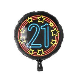 Neon folieballon 21 jaar