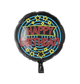 Neon folieballon Happy Birthday!