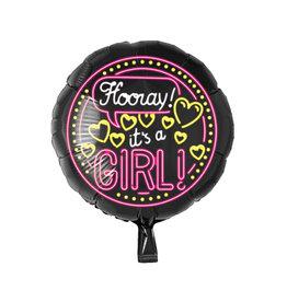 Neon folieballon Hooray it's a girl!